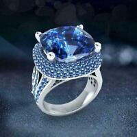 Frauen Modelle Saphir Zirkon Mikrokrusten Kristalle Ring Partei Schmuck J6N1