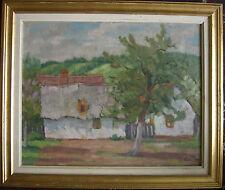 Russie Russe Peinture à L'Huile Maison avec Jardin Signé ° Impressionniste