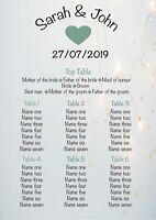 Personalised Wedding Seating Plan Planner Table Plans (G8)