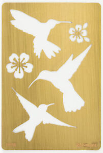 Solid Brass Stencil Template For Embossing & Stenciling Birds Design 19758