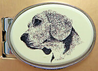Money Clip Oval Barlow Photo Reproducxtion Beagle Dog Silver 539476 n NEW