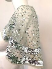 Banana Republic NWT Sea Glass Blue Sheer Netting Sequin Cropped Capelet M/L