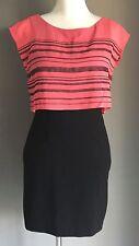 Retro BEBE DESIGN Black & Coral Stripe Overlay Top Pencil Dress Size M (10)