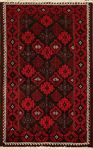 Geometric BLACK/RED Balouch Afghan Oriental Area Rug Wool Handmade Carpet 3'x5'