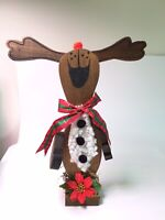 Reindeer Wooden Hand Painted Rustic Christmas Winter Interactive decor 16""