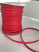 3 M tressées art cordon cuir, rouge, 6mm