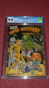 SUPER-MYSTERY COMICS v. 4, #6 - CGC 4,0 C/OW, Golden Age (Ace, 1945)