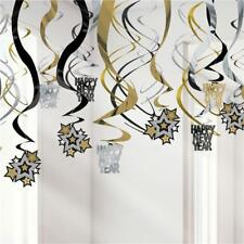 Happy New Year Party Black Gold Silver Hanging Swirls Decoration x 30 Pack