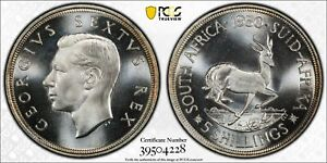 L29 South Africa 1950 5 Shilling Crown PCGS PROOF-67 KEY DATE, Almost CAMEO