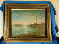 Vintage oil painting landscape Light house ocean scene wall hang framed unique