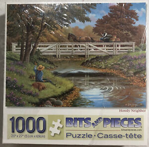 New John Sloane 1000pc Puzzle Jigsaw Howdy Neighbor Western Country Cowboy USA
