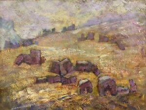 BARBARA DOYLE (B.1917) MODERN BRITISH OIL PAINTING - PATTERN ON THE STUBBLE
