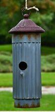 "Birdhouse Single Cylinder Galvanized Metal Farmhouse Bird House Country 15""H"