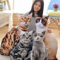 UK 3D Simulation Cat Pillow Cute Cat Doll Cushion Throw Plush Toy Pillow Decor