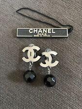 AUTHENTIC CHANEL Black Ruthenium Bead Drop Clip-on Earrings