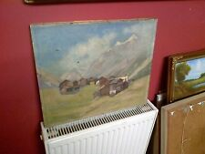 Fine Early 20th c, Swiss School Oil on Canvas.View of the Matterhorn. Signed