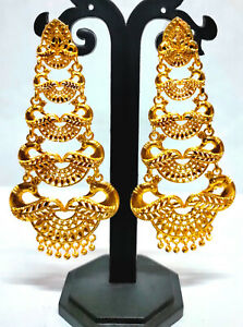 22K Gold Plated Indian Bollywood 7 CM Long Wedding Fashion Earrings Set ETFNS6