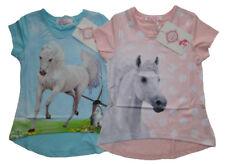 Mädchen kurzarm Shirt mit Pferde Motiv Kinder T-Shirt Pferd Tunika Tshirt Neu