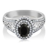 1.25 Ct Oval Black Onyx 925 Sterling Silver Women's Ring