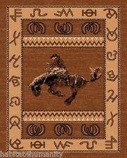 8 x 11 COUNTRY THEME WESTERN COWBOY TAN BROWN AREA RUG riding bucking horse