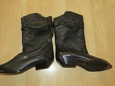Western Unique Style Mid Calf Boots by Clicks,SZ 6.5,Made in Chile,Leather Upper