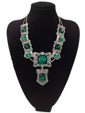 ZARA BEAUTIFUL EMERALD GREEN FACETED GLASS RHINESTONES NECKLACE – NEW