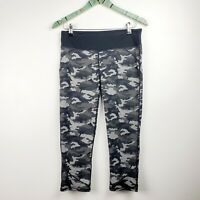 Fabletics Nadi Women's Camo Legging Capri Black Gray Workout Athletic Sz Lg EUC