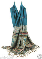 Vintage Women's Blue 100% Pashmina Winter Warm Paisley Wrap Stole Shawl Scarf