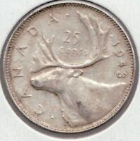 1943 - Canadian King George VI Silver Caribou Quarter - Superfleas  -
