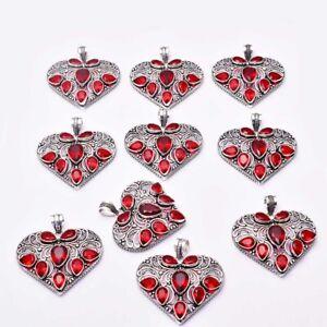 Garnet 10 pcs Wholesale Lot  Heart Pendant Jewelry Lot-1633