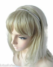 Thin Herringbone Design Silver Tone Headband Hair Band Alice Band With Loops