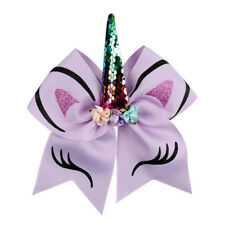 Glitter Glitter Sequin Unicorn Horn Headband Cheer Bows Girls Rubber Band