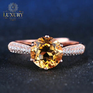 Natural Citrine 14K Rose Gold Plated 925 Sterling Silver Pave Setting Ring