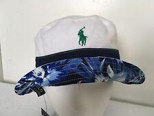 Polo Ralph Lauren Bucket Hat~White w/Stripe~Reversible~Blue Floral~Sz XL/1XL~NWT