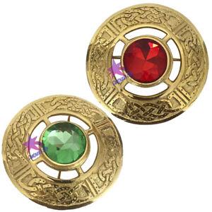 "CC Celtic Kilt Fly Plaid Brooch Multi Colour Stones 3"" High Quality Gold Finish"