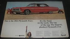 Print Ad 1965 PLYMOUTH Sport Fury 2 page red 2-door on the beach Vintage Car