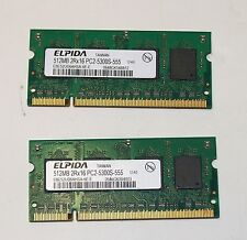 LAPTOP MEMORY ELPIDA 512MB 2RX16 PC-2 5300S PAIR OF CHIPS