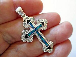 Sterling Silver Pendant With Blue Opal Stone & Enamel Necklace From Jerusalem