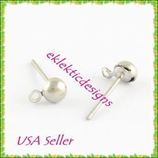 10pcs 4mm 304 Stainless Steel Half Ball Stud Posts Earrings Jewelry Findings