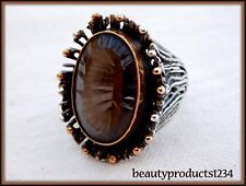Vintage SMOKEY TOPAZ Woman's STERLING SILVER Ring Large Stone HEAVY Size 7 NICE~