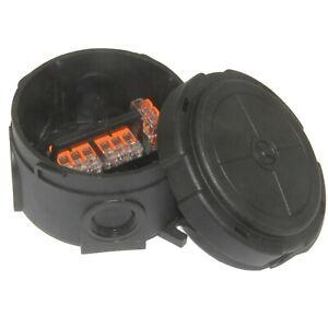 WISKA Combi 304 IP66 Black Weatherproof Outdoor Junction Box inc 3 Wago 10110636