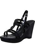 JLC083 Ladies Slingback Strappy Diamante Trim Textured High Wedge Heels