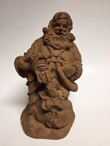 "Santa Claus Figurine Christmas Statue Brown Resin Paintable Craft 10.5"""