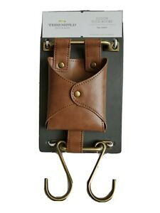 Threshold Wall Organizer Faux Leather Pouch With Hooks 5 in W x 10 1/4 in H