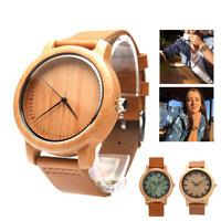 Bamboo Analog Watch Handmade Natural Wood Quartz Wrist Sport Bracelet Men Women