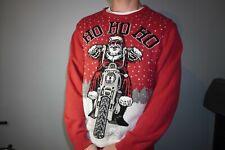 Ho Ho Ho Santa On A Harley Davidson Route 66 Ugly Christmas Sweater Red XXL