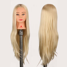 29'' Human Hair Practice Training Head Mannequin Hairdressing Doll + Clamp Gold