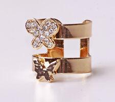 Impresionante romántico Tono Oro Doble Anillo De Mariposa Strass Blancos (Cl25)
