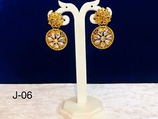 Indian Jumka Earring With Stone Traditional Party Wear Gold Plated Free P&P