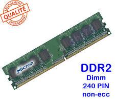 Mémoire 1GO DDR2 PC2-6400U-666-12-D0 CL6 Dimm 240PIN 800Mhz Micron 1Rx8
